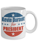 Kevin Durant For President  11 and 15 oz White Novelty Coffee Mugs - Perfect Gift for Basketball Players - Ceramic Coffee Cup With Sayings Printed On Both Sides - Basketball Themed