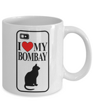 I Love My Bombay 11 and 15 oz White Novelty Coffee Mugs - Perfect Gift for Dog Lovers - Ceramic Coffee Cup With Sayings Printed On Both Sides - Dog Themed