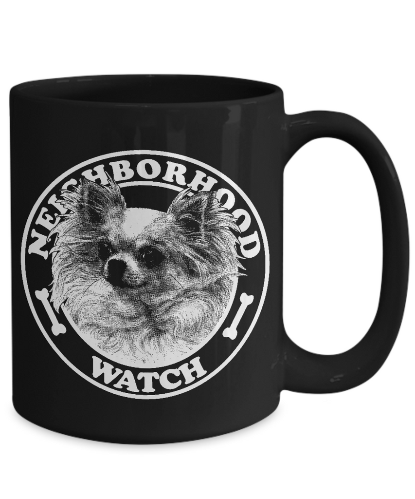 Neighborhood Watch 11 and 15 oz Black Novelty Coffee Mugs - Perfect Gift for Dog Lovers - Ceramic Coffee Cup With Sayings Printed On Both Sides - Dog Themed