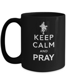 Keep Calm And Pray 11 and 15 oz Black Novelty Coffee Mugs - Perfect Gift for Christians - Ceramic Coffee Cup With Sayings Printed On Both Sides - Enlighten Themed