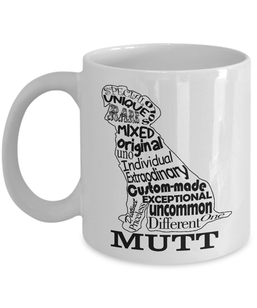 Mutt Dog Shape 11 and 15 oz White Novelty Coffee Mugs - Perfect Gift for Dog Lovers - Ceramic Coffee Cup With Sayings Printed On Both Sides - Dog Themed