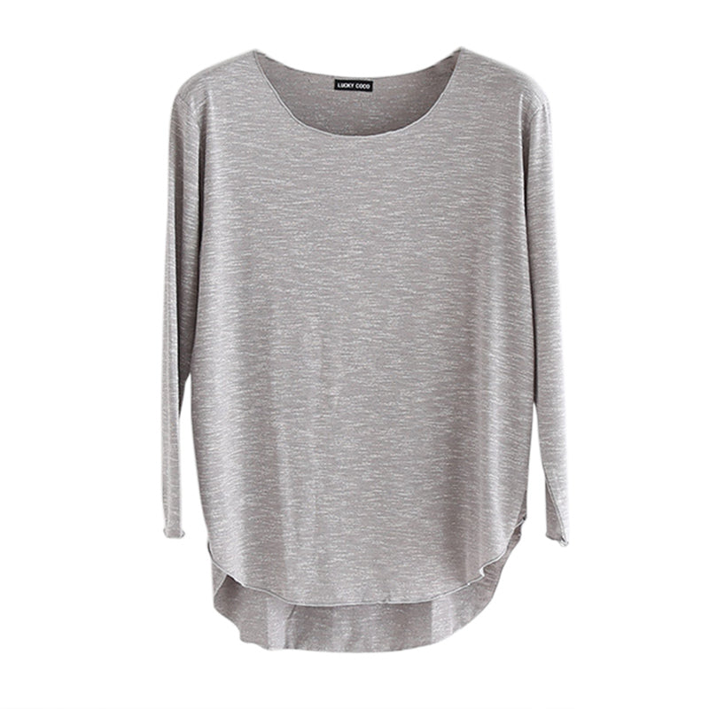 19ebe785706b ... Blusa Slim Loose Cotton O-neck Soft Long Sleeve Solid Tee T-shirt  Women s ...