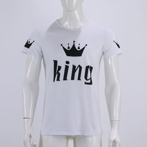 380f7c0f9f107 King Queen Letter Print Cotton O-neck Couples Leisure Tee T-shirt Men s  Women s