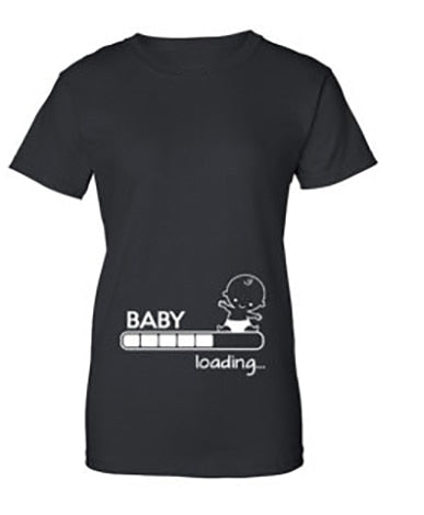 0e0c76da ... Pregnancy Baby Loading Dad To Be Funny short sleeve Tee T-shirts for mens  womens ...