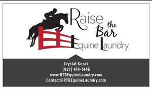 The Mud, The Sweat: Raise the Bar Equine Laundry signs on to help keep the FFI gear clean!