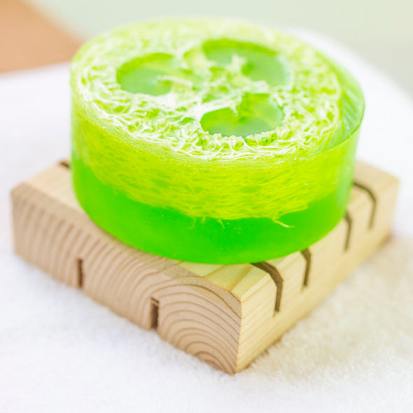 Sleepy Time Luffa Soap on Ceder Wood Soap Dish