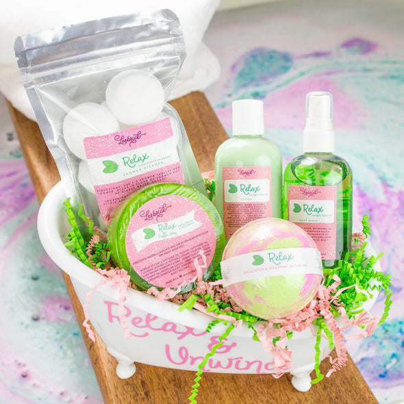 A pampering bath and body bathtub gift set