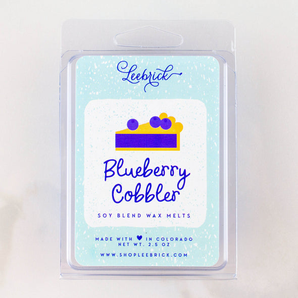 One package of blueberry cobbler scented wax melt cubes