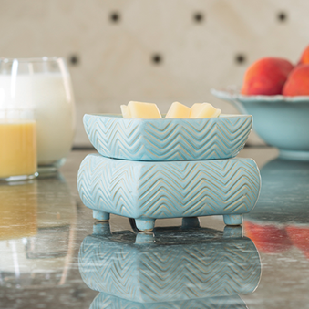 Chevron Aqua Wax Melter + 6 wax melts - Limited Edition