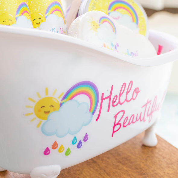 Hello Beautiful over the rainbow plastic bath tub gift set