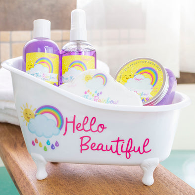 Over the rainbow bath tub gift set