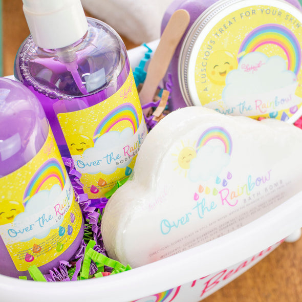 Bath tub gift set including over the rainbow scented products