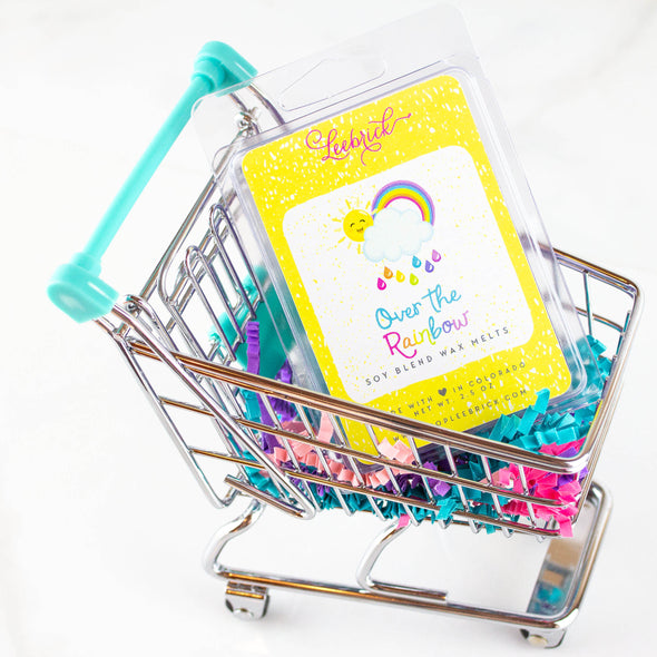 one pack of over the rainbow wax melts in a mini shopping cart