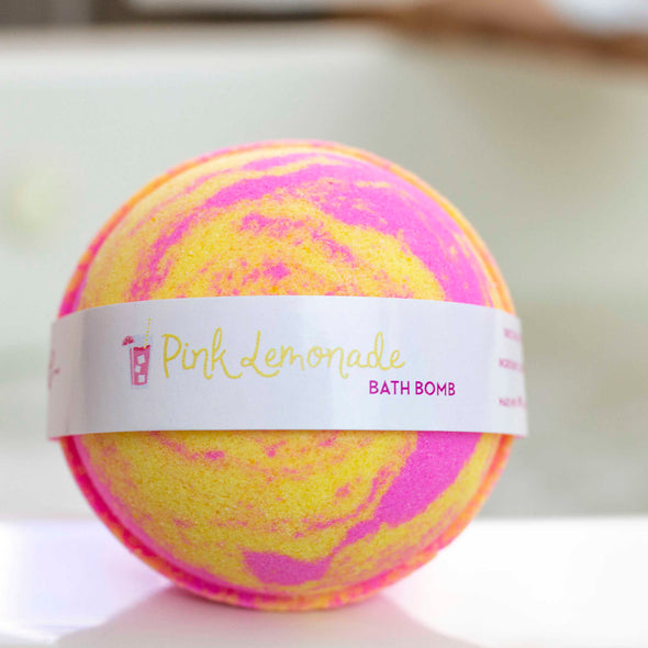 Pink and Yellow Pink Lemonade Round Bath Bomb
