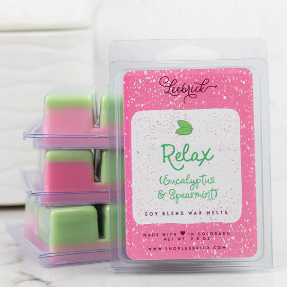 Relax eucalyptus and spearmint pink and green wax melts