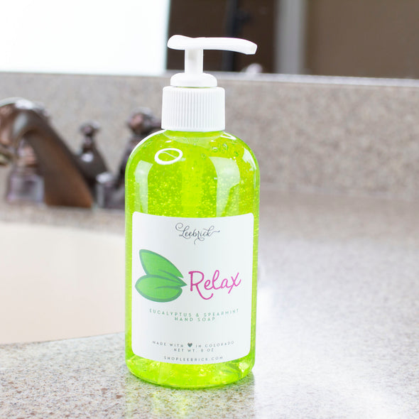 Relax (Eucalyptus +Spearmint) Liquid Hand Soap 8 oz w/pump