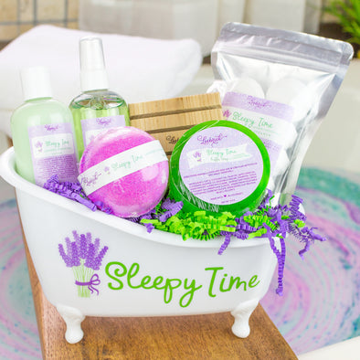 Sleepy Time spa gift set with reusable tub