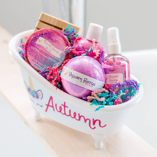 Personalized Unicorn Berries Bathtub Gift Set