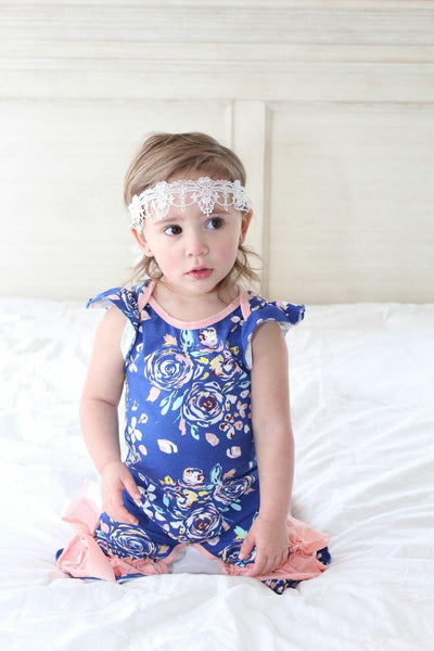 Infant Spring Rose Ruffle Romper- Navy and Coral