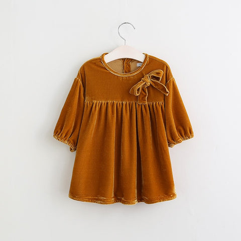 Baby Girl Isabella Velour Bow Tunic Dress