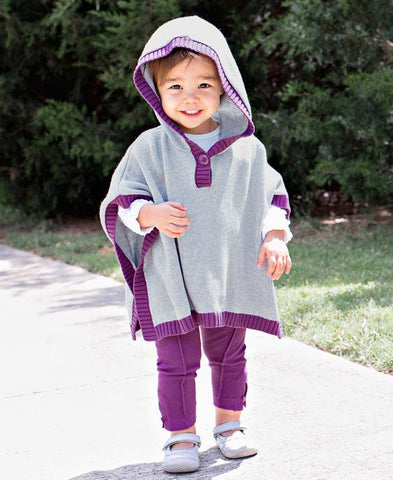 Rufflebutts Gray and Plum Sweater Cape- Girls' Sweater Poncho
