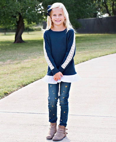 Rufflebutts Navy and Lace Sweater- Big girls' winter sweater
