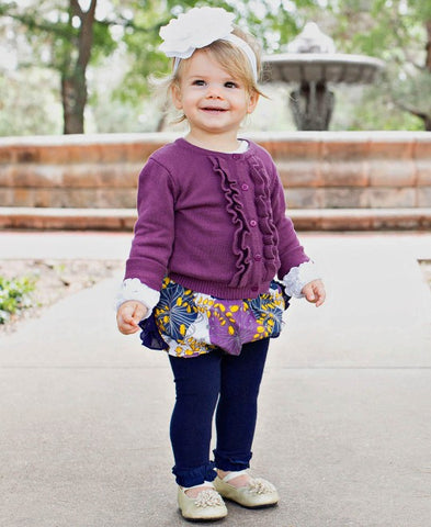 RuffleButts®️ Navy Footless Ruffle Tights Plum Ruffle Cardigan Plum Pie Ruffle Bloomers
