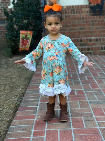 Girls' Autumn Floral Lace Dress
