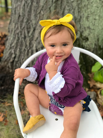 plum pie ruffle bloomer- plum cardigan- purple and mustard floral outfit