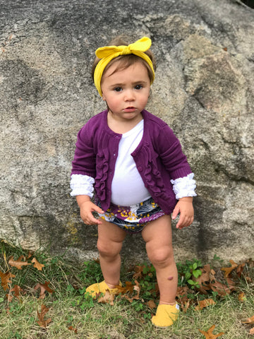 purple and mustard floral outfit- baby ruffle bloomer - baby fall outfit