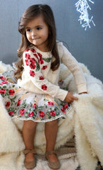 floral rose embroidered sweater, baby sara tutu, cute baby girl tutu, baby girl winter outfit
