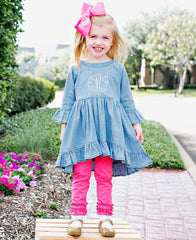 Rufflebutts candy everyday leggings- denim high low ruffle tunic