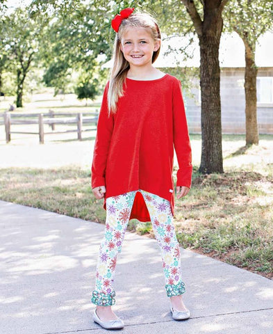 Rufflebutts Snowflake Ruffle Pants Red Bow Back Top Christmas Outfit