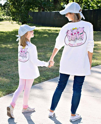 Rufflebutts Babes and Bows White Long Sleeve Tee- Mommy and Me Set