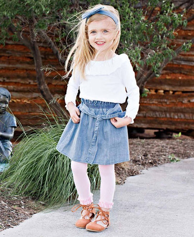 Rufflebutts Light Wash Denim Paperbag Skirt, White Neck Ruffle Top, Pink Footless Ruffle Tights