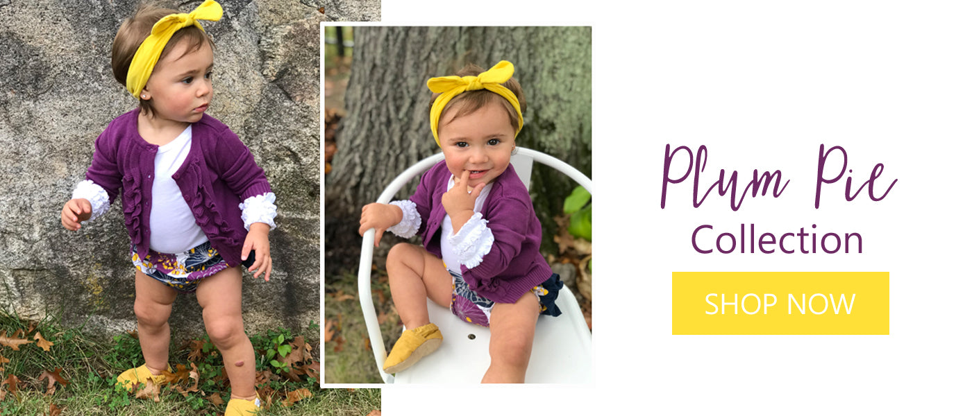 Girls' ruffle bloomer mustard and purple outfit