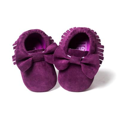 suede purple bow fringe baby moccasins