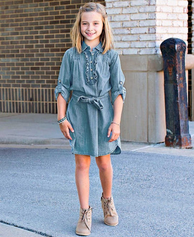 Rufflebutts Light Wash Denim Shirt Dress