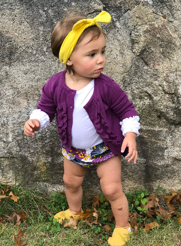 Plum Pie Bloomer- plum cardigan- baby fall clothing-baby bloomer- plum and mustard