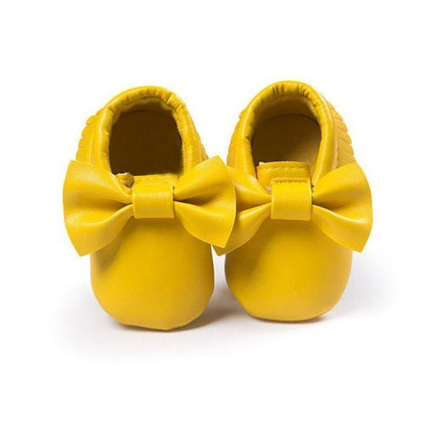 yellow leather bow baby moccasins