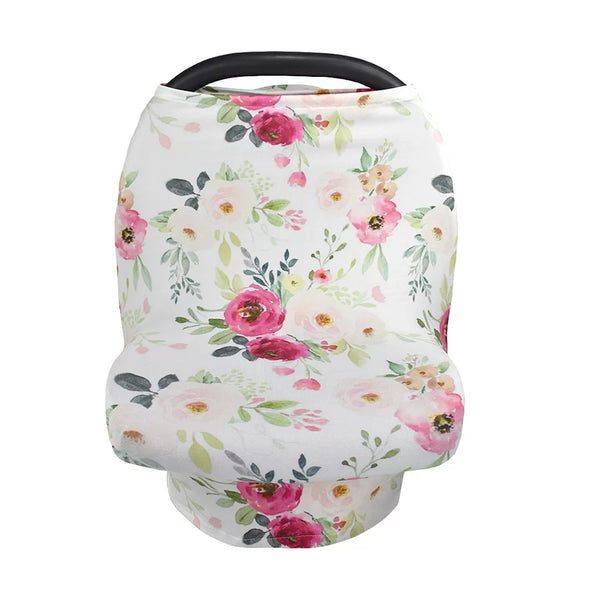 Organic Cotton Carseat Cover- Pink Floral