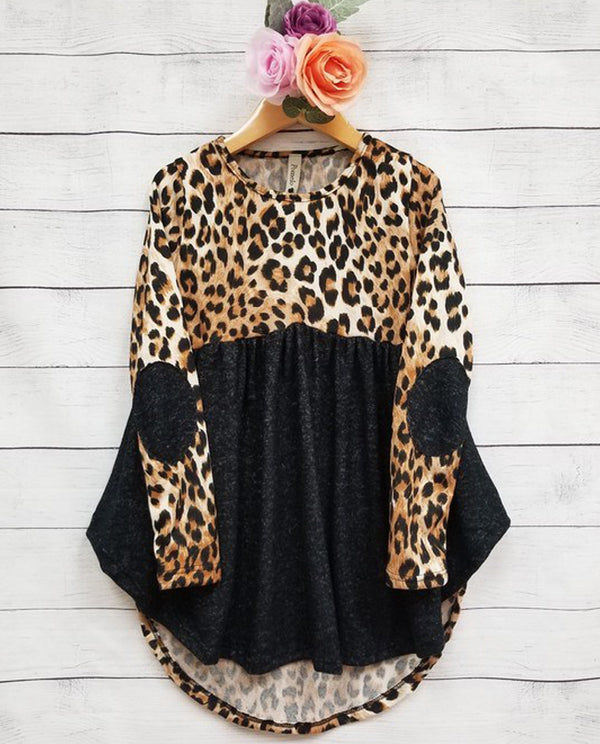 Pomelo Leopard Elbow Patch Tunic