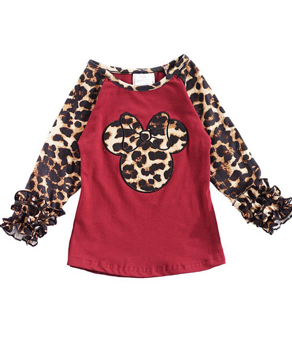 Girls' Maroon Minnie Leopard Icing Raglan