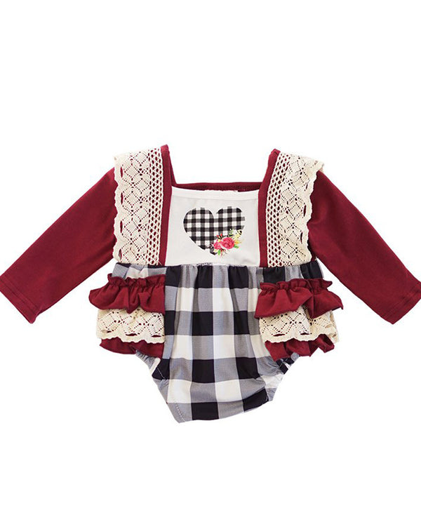 Infant Girls' Plaid and Lace Ruffle Heart Romper