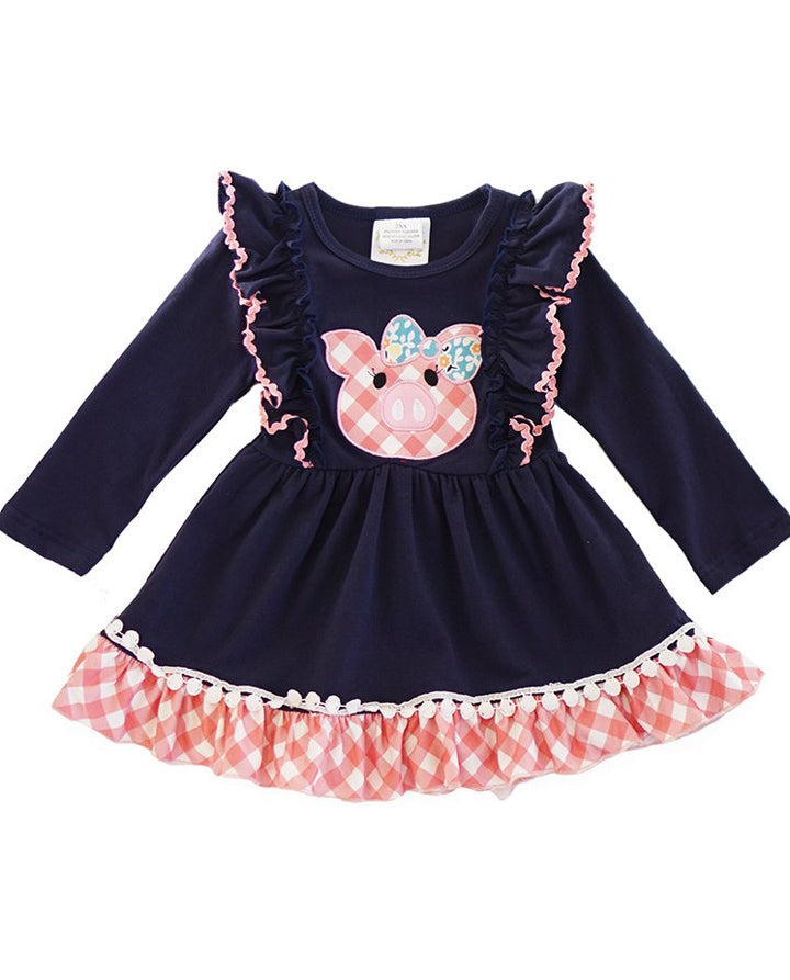 Navy and Pink Gingham Plaid Ruffle Piggy Dress