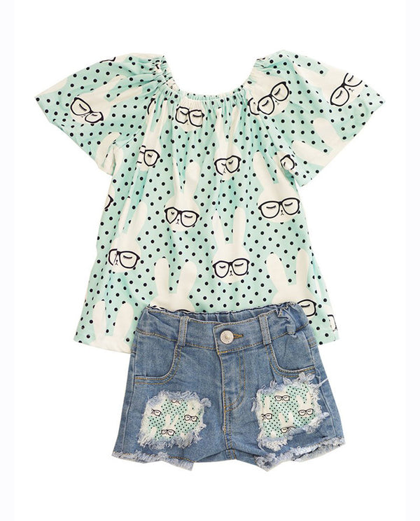 mint bunny top with distressed denim