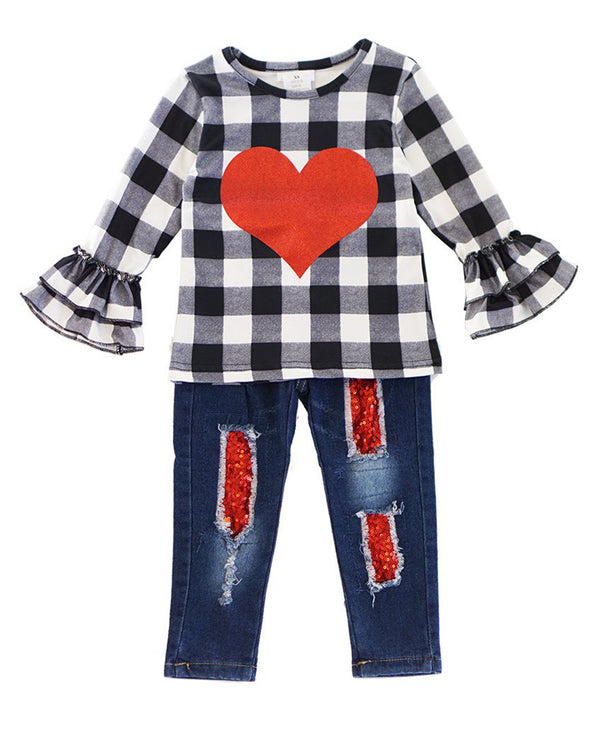 Girls' Black and White Plaid Heart Ruffle Top and Sequin Distressed Denim Outfit