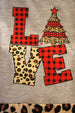 Girls' Love Leopard and Buffalo Plaid Christmas Tree Outfit