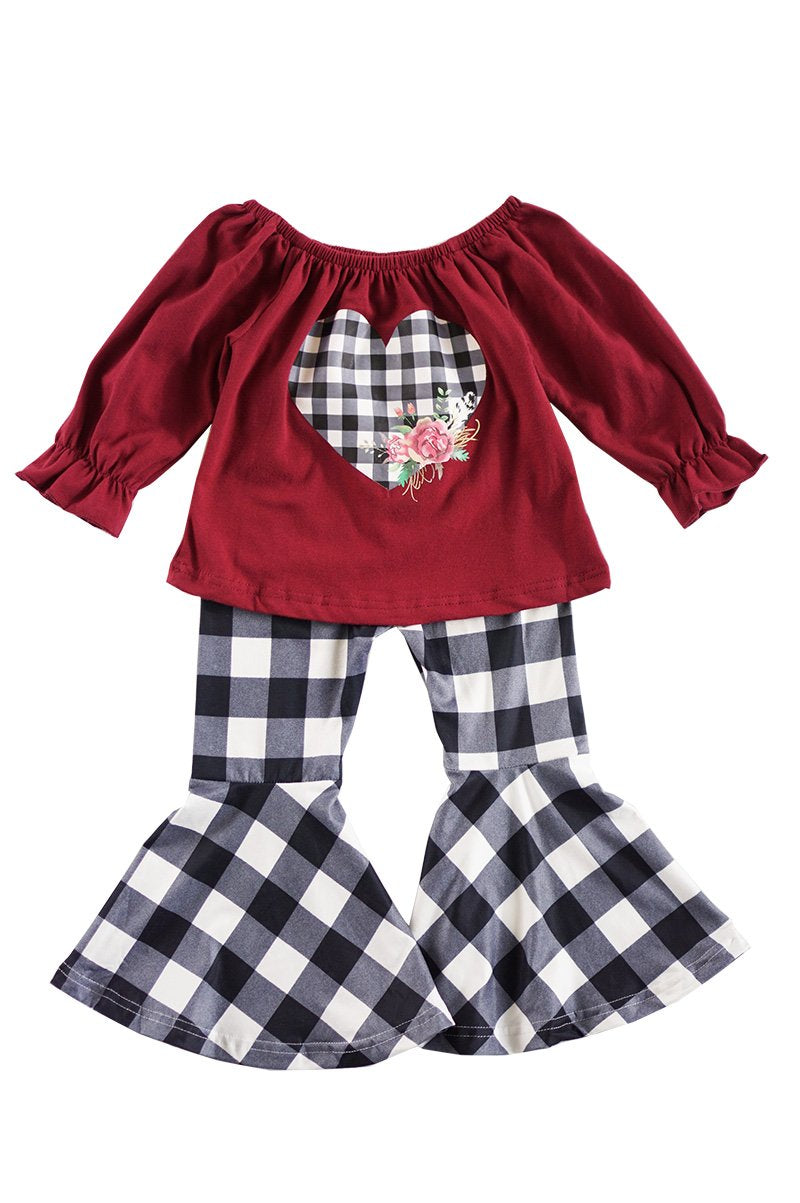 Girls' Maroon and Plaid Bell Bottom Outfit