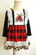 Girls' Buffalo Plaid and Leopard Christmas Tree Lace Dress